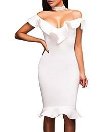 465e2cbf88f0 Toocool - Vestito Donna Miniabito Abito Scollato Aderente Elegante Volants  Nuovo DL-2091