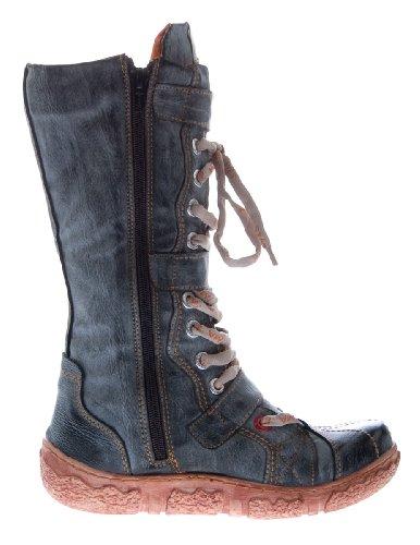 Bottes en cuir tMA chaussures d'hiver pour femme avec doublure noir et fausse fourrure (blanc/rouge/vert/jaune-uni vieilli Noir - Schwarz Grau