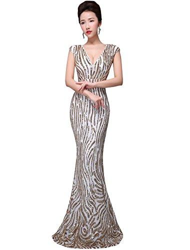Beauty-Emily Maxi Rückenfrei Kappen-Hülse Tiefe V-Ansatz Pailletten-Meerjungfrau-Weißnachtsgeschenke-Abend-Abend-Kleider Farbe Gold, Größe EU52