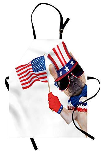 Abakuhaus 4. Juli Kochschürze, Pug-Hund, der patriotisches Zubehör trägt und das Flaggen-Feier-Bild wellenartig bewegt, Farbfest Höhenverstellbar Waschbar Klarer Digitaldruck, Mehrfarbig