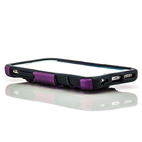 Saxonia Outdoor Hülle + Panzerglas Apple iPhone 6 / 6S Hybrid Silikon Schutzhülle Hardcase Handyhülle mit Standfuß Pink Schwarz-Violett