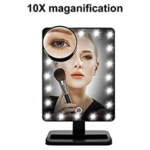 WanEway Large Screen Makeup Mirror with 20 Bright LEDs