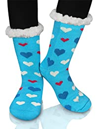 Winter Slipper Socks, Womens Winter Thermal Snowflake Fleece Lining Fuzzy Warm Indoor Home Socks