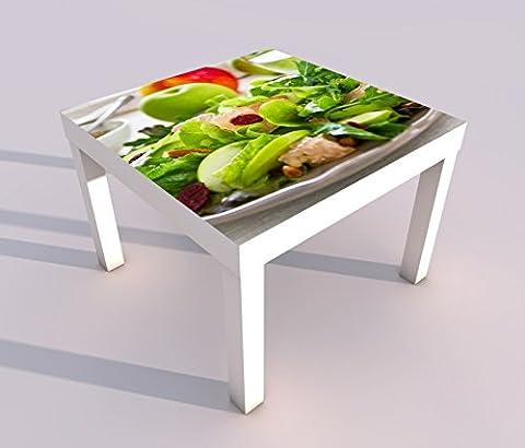 Design - Tisch mit UV Druck 55x55cm grüner Salat Apfel gesund Diät Küche Spieltisch Lack Tische Bild Bilder Kinderzimmer Möbel 18A122, Tisch 1:55x55cm