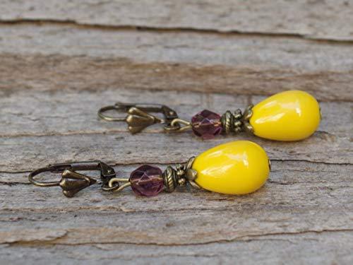 DIE LETZTEN!!!! Vintage Tropfen Ohrringe mit böhmischen Glasperlen - gelb, sonnengelb, lila & bronze