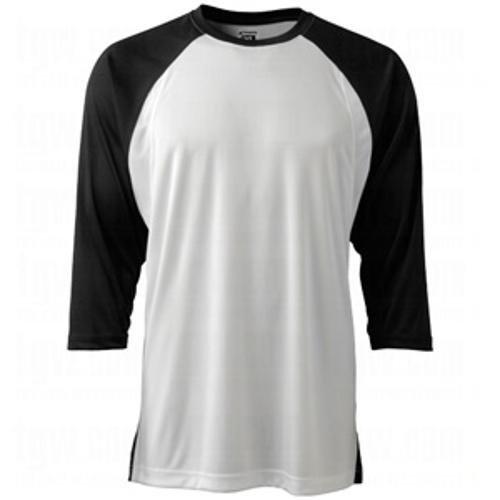 Champro Baseball-T-Shirt mit 3/4-Ärmel, Gr. XL, weiß, Schwarze Ärmel, für Erwachsene -