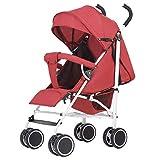 Meen Passeggino, Ultra Leggero può Sedersi Reclinabile Ammortizzatore Pieghevole Spingere Ombrello Bambino Bambino Passeggino (Colore : Red)