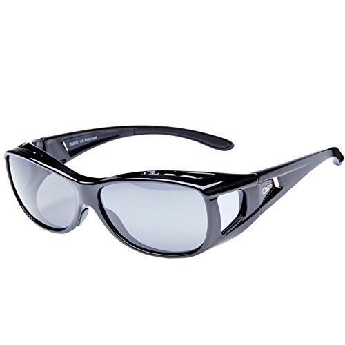 Duco Herren und Damen Sonnenbrillen Polarisiert Unisex Brille Überbrille für Brillenträger Fit-over Polbrille 8953 M - Schwarz, Grau