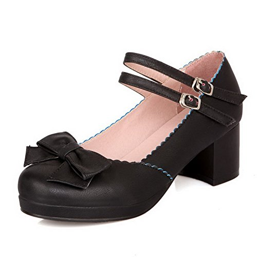 VogueZone009 Damen Mittler Absatz Weiches Material Schnalle Pumps Schuhe mit Schleife Schwarz