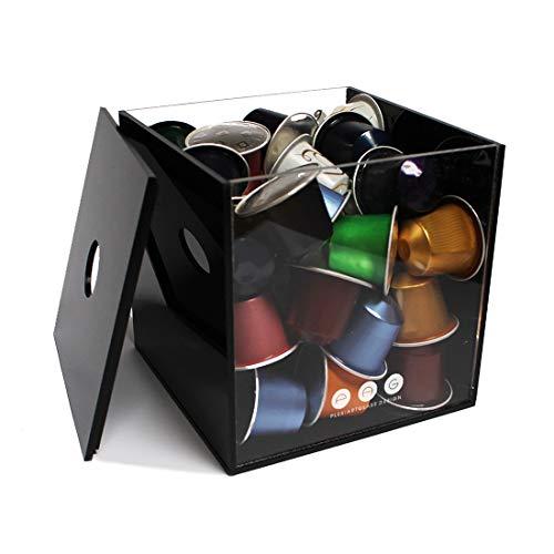 Porta capsule cubo con coperchio nero in plexiglass made in italy 16 cm