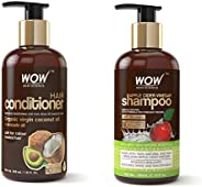 WOW Coconut & Avocado Oil No Parabens & Sulphate Hair Conditioner, 300mL and WOW Apple Cider Vinegar No Parabens & Sulphate