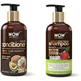 WOW Coconut & Avocado Oil No Parabens & Sulphate Hair Conditioner, 300mL and WOW Apple Cider Vinegar No Parabens & Sulphate Shampoo, 300mL