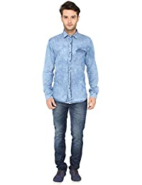 Bombay high Men's Full Sleeves 100% Cotton Washed Denim Shirt