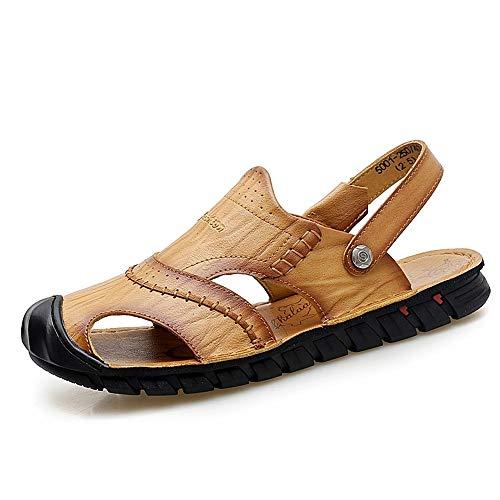 Apragaz Sommer Sport Sandalen Für Männer Mode Lässig Slipper Slip On Stil OX Leder Anti-kollision Toe Dual Zweck Reine Farben Schuhe (Color : Yellowish-Brown, Größe : 44 EU) Stil-slip-ons