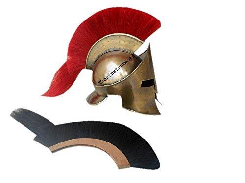 Thor Instruments.Co Spartanischer Helm mit Rotem Federschmuck, im Stil von König Leonidas aus300