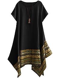 Vogstyle Damen Sommer Kleid Kurzarm Unregelmäßige Saum Ethnisch Mischfarben Baumwolle Leinen Lang Bluse Shirt