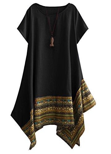 Vogstyle Damen Sommer Kleid Kurzarm Unregelmäßige Saum Ethnisch Mischfarben Baumwolle Leinen Lang Bluse Shirt Black XXL