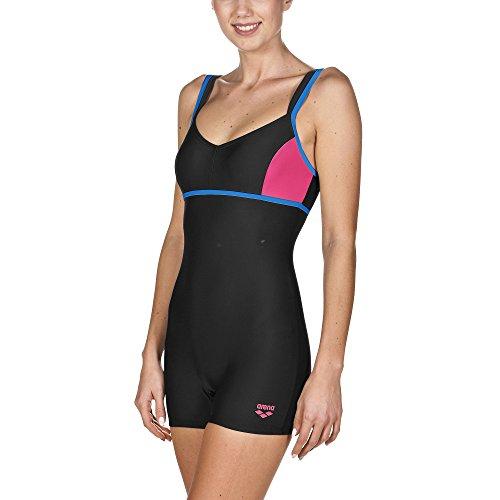 arena Damen Badeanzug Venus (Schnelltrocknend, Langes Bein, Chlor-/Salzwasserbeständig, UV-Schutz UPF 50+), Black-Pix Blue-Fresia Rose (508), 40