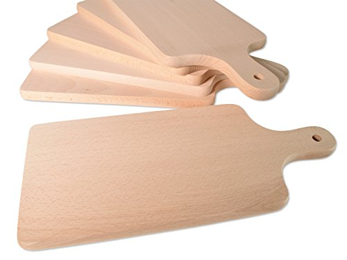 Planchette Petit-Déjeuner holzbrettchen 9,5cm x 23,5cm x 1,5cm Plateau provita Hêtre Naturel Bois Massif Planche à découper 564 (6 pièces)
