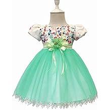 02ff21562 FELICIKK Vestido de niña - Vestido Corto con Mangas de Bautizo Vestido para  niños pequeños