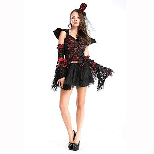 Fashion-Cos1 Deluex Frau Halloween Hexe Vampir Dämon Kostüm Mädchen Rock Magier Zauberin Cosplay Karneval Maskerade Party Kleid (Make-up Kostüm Alte Frau)
