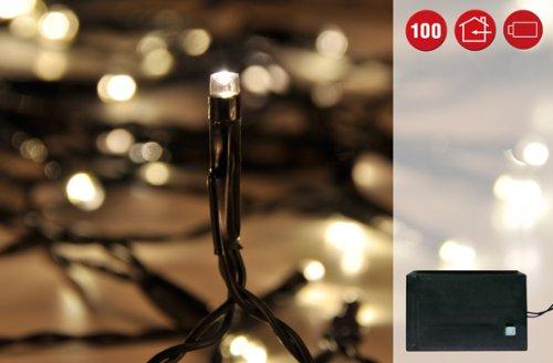 Guirnalda de luces LED 100 ledes de luz blanca cálida-bajo consumo, con función de auto-temporizador, para interior y exterior, funciona con pilas