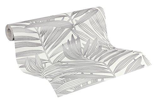 Preisvergleich Produktbild Metropolis by Michalsky Living Vliestapete Palm Springs Tapete im Palmenprint Jungle Style 10,05 m x 0,53 m grau weiß Made in Germany 939382 93938-2
