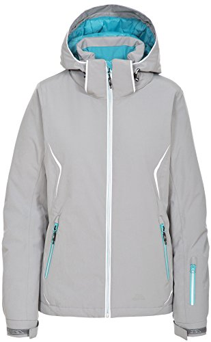 Trespass Tyrona, Platinum, XS, Wasserdichte Skijacke mit abnehmbarer Kapuze, Unterarmbelüftung & Schneefang für Damen, X-Small, Grau (Damen Ski-jacke Xsmall:)
