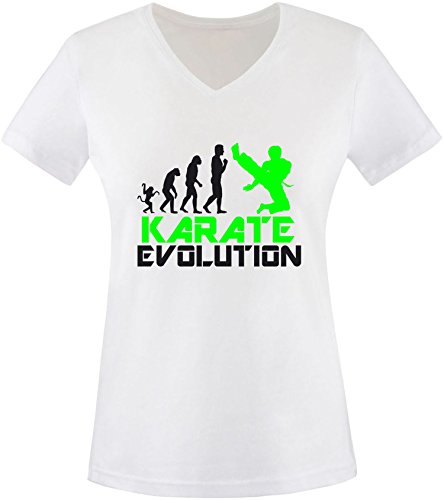 EZYshirt® Karate Evolution Damen V-Neck T-Shirt Weiss/Schwarz/Neongr