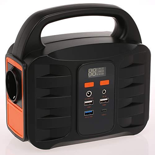 Blusea Tragbare Generator-Stromversorgungsstation 155Wh Notstrom-Ersatzakku, leiser, gasfreier Wechselrichter, aufgeladen durch Solarpanel/Steckdose/Auto mit USB, 100V-220V AC-Ausgang, DC-Ausgang 12v Ac Mini-usb