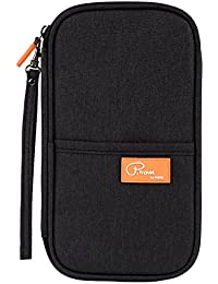 NISUN Long Nylon Travel Passport Wallet Holder Cover for Men & Women Black