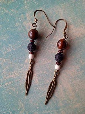 Boucles d'oreilles pendantes en oeil de tigre, pierre de lave, howlite, perles en bois et plume bronze
