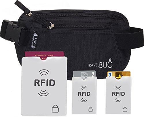 BAUCHTASCHE / GÜRTELTASCHE / GELDBÜRTEL Mit RFID Schutz Schützt Sie Auf Reisen Vor Taschendieben. 2x RFID Schutz Für Karten Und 1x RFID Schutz Für Reisepass.