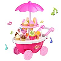 Smibie 39 PCS Ice Cream Shopping Trolley Set Toy Music Lighting Pretend Food Play Set Cake Set Toy