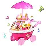 Smibie Eiswagen Eiscreme Trolley Ice Cream Wagen Süßigkeiten mit Musik und Licht Rollenspiel Kinder Spielzeug Pretend Play Toys Spielwaren Vortäuschen Spiel