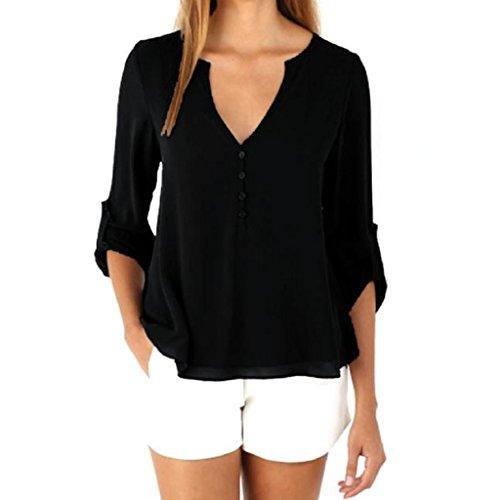 GillBerry Mujer chicas 1PC Suelto Sencillo Gasa Manga larga Camisa de la blusa Tops (M, Negro)