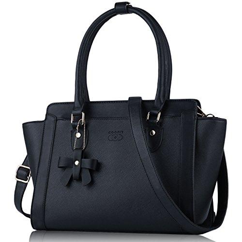 Damen Handtasche, Coofit Handtasche fuer Damen Schultertasche Shopper Vintage Handtasche Fuer Damen PU Leder Hobo Handbag (Schwarz) (Hobo Logo Handtasche)