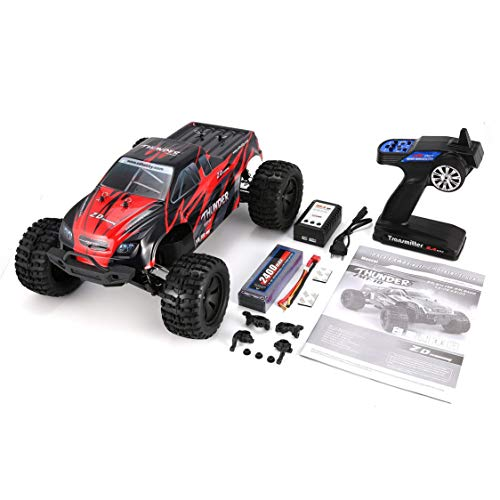 Vige ZD Racing 9106-S 1/10 Thunder 4WD Brushless 70KM / h Racing RC Auto Bigfoot Buggy Truck RTR Giocattoli Telecomando Veicolo - Rosso e Nero