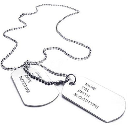 KONOV Schmuck Herren Halskette, 2 Militärischen Erkennungsmarken Armee Stil Dog Tag Anhänger mit 68cm Kette, Silber