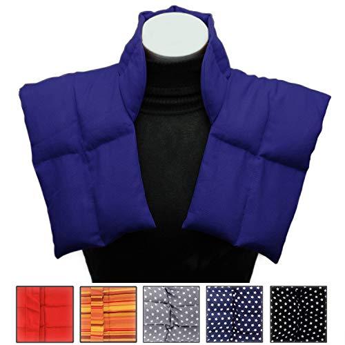 Wärmekissen mit Kragen für Nacken und Schultern - Körnerkissen zum Erwärmen - Natürliches Getreidekissen mit Multi-Kammersystem (blau)
