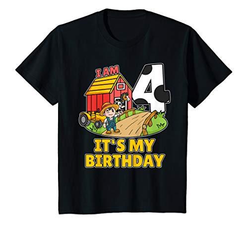 Bauer Shirt Kostüm - Kinder 4. Geburtstag Bauer Shirt Landwirt Ich Bin Schon 4 Jahre T-Shirt