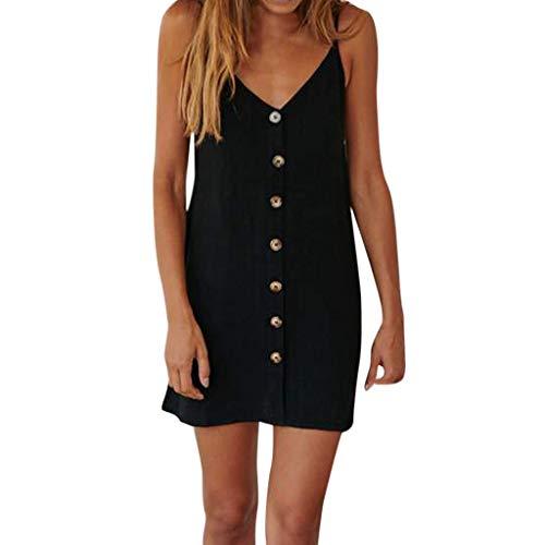 Strungten Womens Summer Bohemian Spaghetti Button vorne ärmellos verstellbarer Spaghetti-Träger Casual Mini Short Dress Sommerkleid -