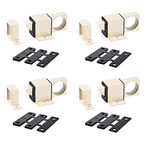 ZCHXD Door Bolt Latch, Aluminum Alloy Security Automatic Window Gate Spring Bounce Lock, 4 Pcs (Beige) -