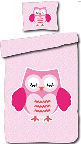 Aminata Kids - Kinder-Bettwäsche-Set 135-x-200 cm Eule-n-Motiv Vögel Wald-Tier-e 100-% Baumwolle Reißverschluss pink-e rosa Weiss-e Wimpern -