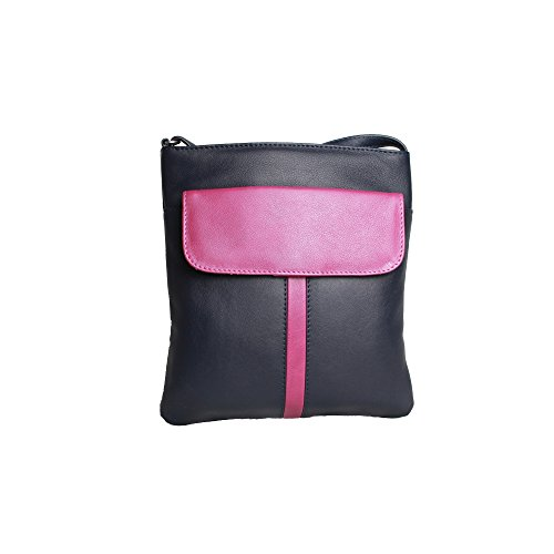Eastern Counties Leather - Melissa - Borsa a mano con taschino frontale - Donna Blu navy/Rosa