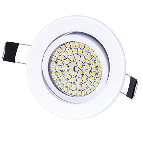 Lu-Mi LED Einbaustrahler Flach 230V - Deckenspots Ultra Flach Einbaustrahler | 350 Lumen | 230V | 3,5W | Licht: Warmweiss 3200K | Gehäuse Rund (Weiß)