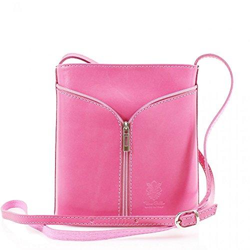 Da donna Fashion Designer piccola borsa a tracolla in pelle italiana di qualità cwv0026 Rosa H20cm x W18cm x D7cm