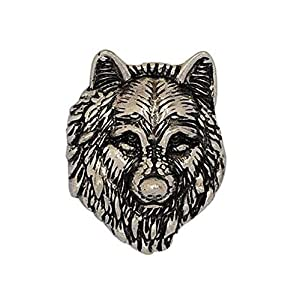 ANDANTE Chunk Click-Button Druckknopf (Wolf) für Chunk-Armbänder, Chunk-Ringe, Chunk-Schlüsselanhänger und andere Chunk-Accessoires + Organzasäckchen