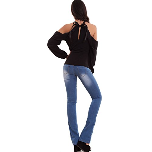 Toocool - Top maglia donna maglietta fiocco ruches elegante spalle nude nuova WD-1738 Nero
