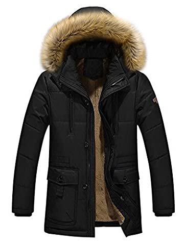 Ghope Men's Transitional Parka Coat Jacket Quilted Jacket Padded Warm Jacket for Winter Jacket Outerwear Sports Hooded Jacket Sports XS S M L XL XXL, Schwarz L